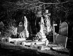 Islington & St. Pancras Cemetery (London Less Travelled) Tags: uk unitedkingdom britain england london barnet finchley eastfinchley city urban suburban suburbia suburb suburbs northlondon cemetery islington stpancras grave tomb statue monochrome blackandwhite light shadow