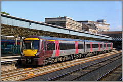 170103, Newport (Jason 87030) Tags: september 2009 xc crosscountry wales station platform canopy u it dmu dieselmultipleunit class170 170103 colour livery mess caerdydd cardiff newport train railkway departing departure transport transportation maroon grey silver departed