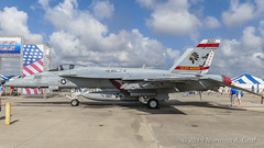 """Boeing F/A-18E Super Hornet of Strike Fighter Squadron 87 (VFA-87) """"Golden Warriors"""" from NAS Oceana (Norman Graf) Tags: fa18 fa18e usn aircraft airplane cagbird boeing vfa87 airshow 168910 navalaviation 2017nasoceanaairshow goldenwarriors warparty aj300 attack cag carrierairgroup f18 f18e fighter hornet jet nasoceana plane strikefightersquadron87 superhornet unitedstatesnavy"""