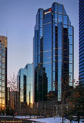 Devon Tower, Calgary, Alberta, Canada (PhotosToArtByMike) Tags: devontower calgary albertacanadaskyscraper alberta sunset night lowlight canterratower canadiancity town city provinceofalberta bowriver elbowriver
