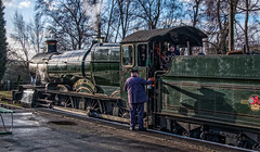 The man with the can (Peter Leigh50) Tags: manor great gcr gala central railway railroad rail steam sunshine station people locomotive engine train trees fujifilm fuji xt2 winter gwr exgwr class 78xx