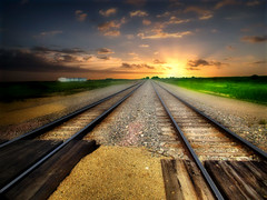 The tracks 3 (mrbillt6) Tags: landscape rural prairie tracks railroad sunset serene photoart gravel summer outdoors country countryside sky northdakota