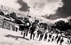 The Unstoppable (kirstiecat) Tags: montmartre paris europe people shadows clouds noiretblanc famile ombres family mother son daughter boy children child kid kids monochrome monochromemonday steps stairs sacredheart cityscape skyline nuages street canon moment life cinematic film cinematique surreal dramatic sacrecouer