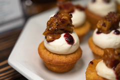 "Fire Thyme – Jamie BisioulisBourbon Brown Sugar Bacon Cupcakes – with Licor 43 + Luxardo cherry buttercream • <a style=""font-size:0.8em;"" href=""http://www.flickr.com/photos/124225217@N03/33687604338/"" target=""_blank"">View on Flickr</a>"