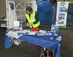 VRT volunteer Sam Sismey arranges the fundraising table at Hangar 5, Southend Airport 17.06.18 (Trevor Bruford) Tags: vrt vulcan restoration trust xl426 southend airport avro nuclear bomber cold war plane jet aircraft airplane aviation raf tin triangle delta lady royal air force volunteer fundraising