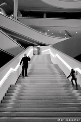 Then I rush up the stairs to my memories of you (Hank Williams Jr.) (stef demeester (sometimes off)) Tags: architecture bw blackandwhite bnw cityhall curves fujix100f fujifilmx100f lines monochrome nieuwegein people staircase stairs stefdemeester straatfotografie street streetlife x100f