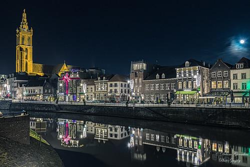 Roerkade at night, Roermond, The Netherlands