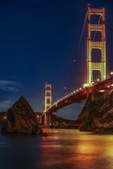 Golden rock (karinavera) Tags: 70200 city longexposure night photography cityscape urban ilcea7m2 sunset sanfrancisco battery goldengate stars rock bridge