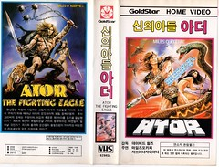 "Seoul Korea vintage VHS cover art for cult sword-n-sorcery pic ""Ator: The Fighting Eagle"" (1982) - ""Goldstar Gold"" (moreska) Tags: seoul korea vintage vhs cover art retro fantasy atorthefightingeagle 1982 italian joe damato cult bmovie epic sorcery sword snake drivein 1980s adventure hangul graphics fonts english videocassette analogue goldstar logos pop culture filmgeeks obscure disappearing collectibles archive museum rok asia"