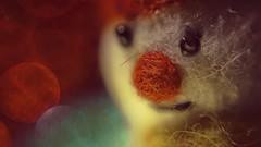 Warten auf´s Christkind (Renate Bomm) Tags: green macroorcloseup nase renatebomm samyangaf35mmf28 sonyilce6000 weihnachte macromondays nose red ro snowman bokeh holidaybokeh christmas orange naranjo macro mondays creative renate bomm makro