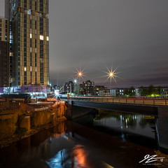 Put Back Together Again (TVZ Photography) Tags: square 1x1 manchester greatermanchester northwestengland canal water bridge road tower building city night evening longexposure lowlight sonya7riii zeiss loxia 21mm