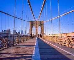 Brooklyn Bridge Path Winter Light (Raphe Evanoff) Tags: format medium 43mm provia fuji promenade walkway path pedestrian people nyc manhattan brooklyn bridge mamiya 7 urban landscape