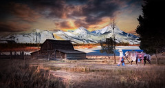 Home After A Long Days Ride (jarr1520) Tags: landscape sky clouds sunset sun dusk mountains composite textured snow buildings barn lake water road grasses girl cowgirl pony horse light