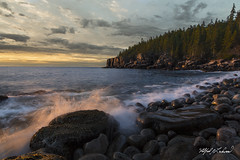 Boulder Beach Dawn_27A7619 (Alfred J. Lockwood Photography) Tags: alfredjlockwood nature landscape seascape sunrise dawn boulderbeach water sea waves rocks atlanticocean atlanticcoast forest cliff acadianationalpark maine autumn morning