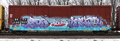 Aera/Daysr (quiet-silence) Tags: graffiti graff freight fr8 train railroad railcar art aera daysr serph boxcar bkty e2e endtoend bkty150803