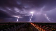 Intensity (Mike Olbinski Photography) Tags: 20180721 arizona canon1124mmf4 canon5dsr desert dust freeways interstate8 lighttrails lightning mcs monsoon mountains rain vekolroad