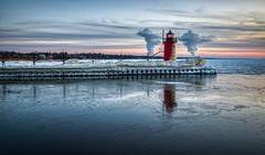 South Haven Lighthouse #8 (tquist24) Tags: hdr lakemichigan michigan nikon nikond5300 southhaven southhavenlighthouse catwalk clouds cold evening frozen geotagged ice lighthouse pier reflection reflections sky snow sunset water winter steam