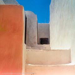 Orange and white Walls, Santorini, Greece (WernerSchoen) Tags: thira greece europe griechenland santorin stufen stairs 6x6 film analog yashica orange white blue sky steps cyclades kykladen geometric lines ägäis