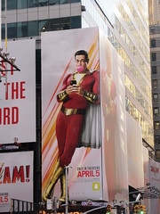 Shazam The Big Red Cheese Billboard 42nd St NYC 3714 (Brechtbug) Tags: shazam billboard 42nd street new captain marvel the big red cheese poster ad nyc 2019 times square movie billboards york city work working worker paint painting advertisement dc comic comics hero superhero alien dark knight bat adventure national periodicals publication book character near broadway shield s insignia blue forty second st fortysecond 03142019 lightning flight flying march
