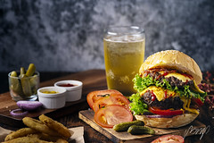 Fresh and juicy hamburger. Cheese burger with beef or bacon, patty tomato, onion ring and sparkling water or beer. (pomp_jaideaw) Tags: burger cheese hamburger food juicy sandwich delicious cheeseburger gourmet fresh beef meat fast grilled lunch onion fries meal american bun tasty lettuce bread red bacon unhealthy dinner vegetable fried burgers background french wooden sauce snack beer tomato toasted rustic bbq healthy cuisine green melted barbecue fastfood gorgonzola table