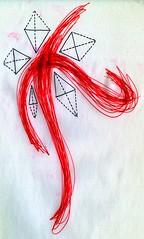 Burden of the Cross (Daniel Ari Friedman) Tags: art drawing draw red black danielarifriedman daniel friedman science philosophy paper pen ink creative artistic geometry topology mathematics cartoon freehand freedraw craft