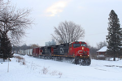 Daily Westbound (view2share) Tags: cn2555 cn canadiannational c449w dash9 ge generalelectric minneapolissub newrichmond wisconsin wi winter westbound westernwisconsin weather cold snow snowfall snowcover locomotive track transportation trains tracks transport train trackage trees freight freighttrain freightcar freightcars railroading railroads railway rail rails rr railroaders rring railroad deansauvola morning stcroixcounty 517 l517 cn517 cnl517 february232019 february2019 february 2019
