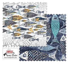 Mimipinto fish design collection at spoonflower (MimiPintoArt) Tags: fabric fish textiles sewing swimwear swimming batik pattern wax resist block print surface design art licensing artist coordinates collection summer