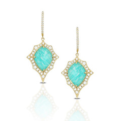 Spiked Decorative Frame 18k Yellow Gold Diamond Earrings With Clear Quartz Over Amazonite (diamondanddesign) Tags: spikeddecorativeframe18kyellowgolddiamondearringswithclearquartzoveramazonite e7642az 18k yellow gold amazon breeze doves earrings diamond clear quartz over amazonite 105 ct front