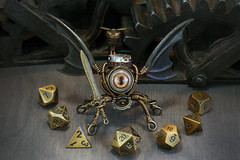 Modron dice guardian (Catherinette Rings Steampunk) Tags: fantasy adoptables dungeons dnd sculpture modron handmade etsy metal art artisan wirewrapped figurine creatures weird oneeyed cyclopean brass copper dice cana canadian cute