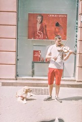 54409187_423879811698159_1729913570134589440_n (PurplexBlue) Tags: person violin plovdiv bulgaria dog street streetphotography analogue