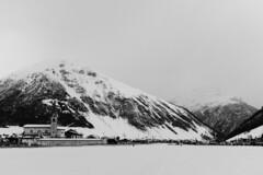 Evening and snowy Livigno (Petr Horak) Tags: italy livigno x100f europe fujifilm church evening monochrome bw