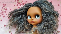 Farah (Motor City Dolly) Tags: custom ooak blythe doll customized black brown african american skin wensleydale curls curly hair gray grey gold sandra coe motor city dolly