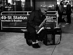 Equinox (Pierrot le chat) Tags: streetphotography scènederue night nyc newyorkcity saxophone blackandwhite noiretblanc