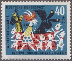 Deutsche Briefmarken (micky the pixel) Tags: briefmarke stamp ephemera deutschland bundespost wohlfahrtsmarken märchen fairytales brüdergrimm derwolfunddiesiebenjungengeislein thewolfandthesevenyoungkids
