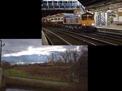 Gbrf Loco 66760 with a mixed rake of 4 wheeled Ballast Wagons, upper picture from Whitemoor to Ilford at Ipswich on Friday, lower pic at Broxbourne working the same train from Channlesea back to Whitemoor. 10 02 2019 (pnb511) Tags: westangliamainline broxbourne hertfordshire class66 engineering train diesel locomotive gbrf river lea lee water railway ipswich greateasternmainline geml overhead cable ohc catenary traction loco night station dark lights