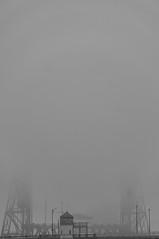 Bridge disappearing into the fog (Richtpt (Rich Uchytil)) Tags: 2019 downtown pdx blackwhite blackandwhite bridge flickrphotowalk fog january portland sonyalpha