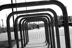 B&W world (Daniel Nebreda Lucea) Tags: black blanco negro white perspective perspectiva urban urbano urbana street calle city ciudad monochrome monocromatico capture motion captura movimiento people gente light luz pattern patron metal metalico lines shape composition composicion life vida travel viajar day noir canon 60d 50mm lineas point view puto vista bicycle bicicleta
