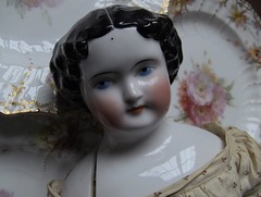 ZUT ALORS_china doll (Kestner? Kister? ABG?) _1860 (leaf whispers) Tags: shoulder head doll china german germany porcelain artist art obsolete light chiaroscuro shadow natural highcontrast nophotoshop victorian tartan scottish colerette tete buste poupee highbrow parian porcelaine antique old leather hands ancienne arms cloth body civil war covered wagon sculpted curls flat top original kestner rare handmade vernissee folk vintage spirit haunted cracked broken decayed beauty distressed toy bizarre dame xixe siecle buy auction sale altbeckgottschalck kpm plate plates berlin