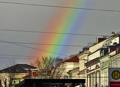 Rainbow today in my City (BrigitteE1) Tags: regenbogen rainbow bremen de deutschland norddeutschland germany northgermany colorful rainbowcolors rainbowcolours color amwall colour red orange yellow green blue lilac indigo city mycity sky rot gelb grün blau lila geotagged