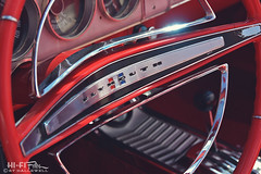 Sport Fury Wheel (Hi-Fi Fotos) Tags: plymouth sport fury vintage mopar steering wheel interior american classiccar red chrome horn dash gauges nikkor 50mm nikon d7200 dx hififotos hallewell