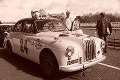 MG Magnette ZA Competition Saloon 'Bumble' 1956, HRDC Track Day, Goodwood Motor Circuit (9) (f1jherbert) Tags: sonya68 sonyalpha68 alpha68 sony alpha 68 a68 sonyilca68 sony68 sonyilca ilca68 ilca sonyslt68 sonyslt slt68 slt sonyalpha68ilca sonyilcaa68 goodwoodwestsussex goodwoodmotorcircuit westsussex goodwoodwestsussexengland hrdctrackdaygoodwoodmotorcircuit historicalracingdriversclubtrackdaygoodwoodmotorcircuit historicalracingdriversclubgoodwood historicalracingdriversclub hrdctrackday hrdcgoodwood hrdcgoodwoodmotorcircuit hrdc historical racing drivers club goodwood motor circuit west sussex brown white sepia bw brownandwhite