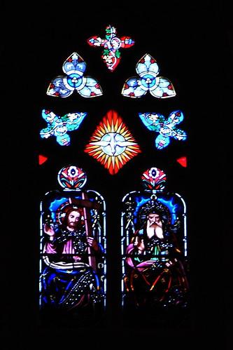 20100603 369 Jakobus Bilbao Kathedrale Fenster Dreifaltigkeit Jesu Geist_01a