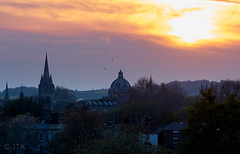 High Above Dreaming Spires (jip_and_elsewhere) Tags: oxford england uk united kingdom greatbritain unitedkingdom sunset sun dark evening canon fd canonfd135mm sony sonya7ii a7 flickrtravelaward colour color orange red blue yellow