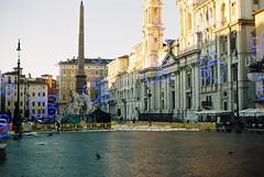 Piazza Navona (Katz) (goodfella2459) Tags: nikonf4 afnikkor24mmf28dlens konokatz200 35mm c41 film analog colour roma city streets buildings piazzanavona italy rome manilovefilm