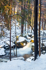 Winter Creek (Bulda9) Tags: winter snow creek forest reflection sunset water tree cold frost stream wood landscape nature outdoors light