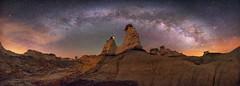 Twin Peaks of the Badlands (Wayne Pinkston) Tags: panorama badlands hoodoos desert landscape night sky nightsky nightlandscape astrophotography landscapeastrophotography widefieldastrophotography waynepinkston waynepinkstonphotocom lightcraftercom stars starrysky starrynight galaxy milkyway nikon cosmos