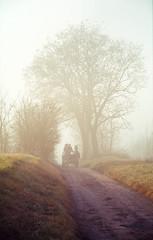 Coach in the mist (soul.tan) Tags: canon eos 3 sigma 150mm f28 macro konica minolta dimage scan elite 5400 kodak ektachrome e100vs mist horse coach carriage autumn early morning