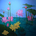 """""""Lotus Blossoms and Lily Pads"""" by Shira, arylic, $200.00"""