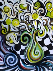 Rediscovery (Skyler Brown Art) Tags: acrylic art artwork canvas checker colorful flower flowers nature paint plants pretty psychedelic surreal swirl vase