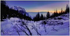 Winterabend (Karl Glinsner) Tags: landschaft landscape österreich austria oberösterreich upperaustria winter outdoors gebirge mountains schnee snow grünberg traunstein dämmerung dusk bluehour blauestunde